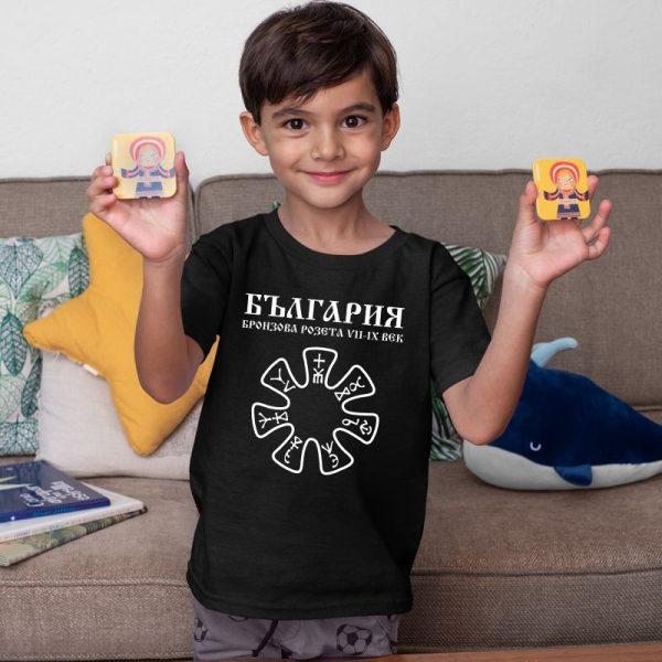 Детска тениска БЪЛГАРСКИ СИМВОЛИ - Бронзова розета от Плиска 1
