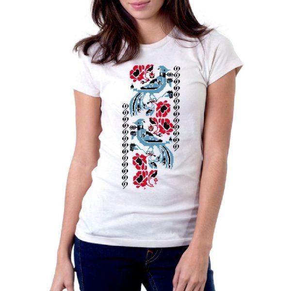 Дамска тениска Шевица птички, размер М 1